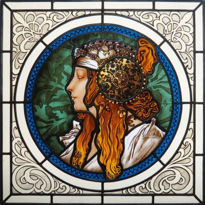 TWO STAINED GLASS WITH COMPLETE GLASS PAINTING BASED ON ALPHONSE MUCHA, DIMENSIONS 50x50 cm, 2017