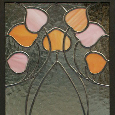 DECORATIVE STAINED GLASS IN THE ART NOUVEAU STYLE, DIMENSIONS 35x105 cm, 2009