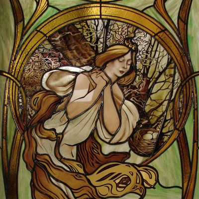 "FIGURE STAINED GLASS BASED ON ALPHONSE MUCHA ""SPRING"", DIMENSIONS 65x140 cm, 2015"