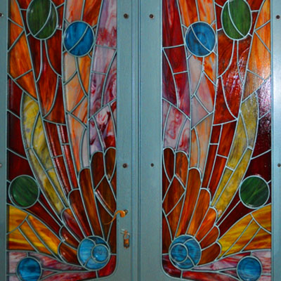 COLOR COMPOSITION FROM THE OPAL GLASS SET IN METAL DOOR FRAME, 2015