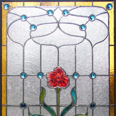 DECORATIVE STAINED GLASS IN THE ART NOUVEAU STYLE INCLUDING GLASS STONES, DIMENSIONS 60x120 cm, 2009