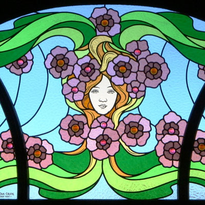 DECORATIVE STAINED GLASS IN THE ART NOUVEAU STYLE INCLUDING GLASS STONES, DIMENSIONS 90x180 cm, ARTIST: RADEK PÁNÍK, 2008