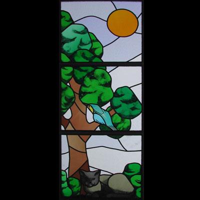 DEKORATIVNÍ VITRÁŽ, 40x105 cm, AUTOR: VÁCLAV CHALOUPKA, REALIZACE 2003