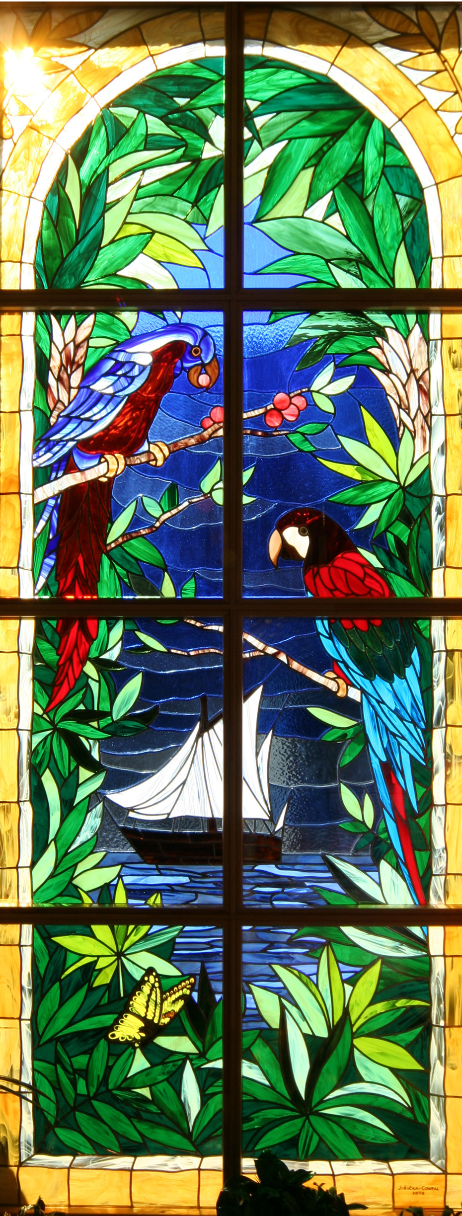 "ART STAINED GLASS PAINTER RADEK PÁNÍK - ""BAY WITH SAILBOATS AND PARROT"", ART CARTON AND REALIZATION"